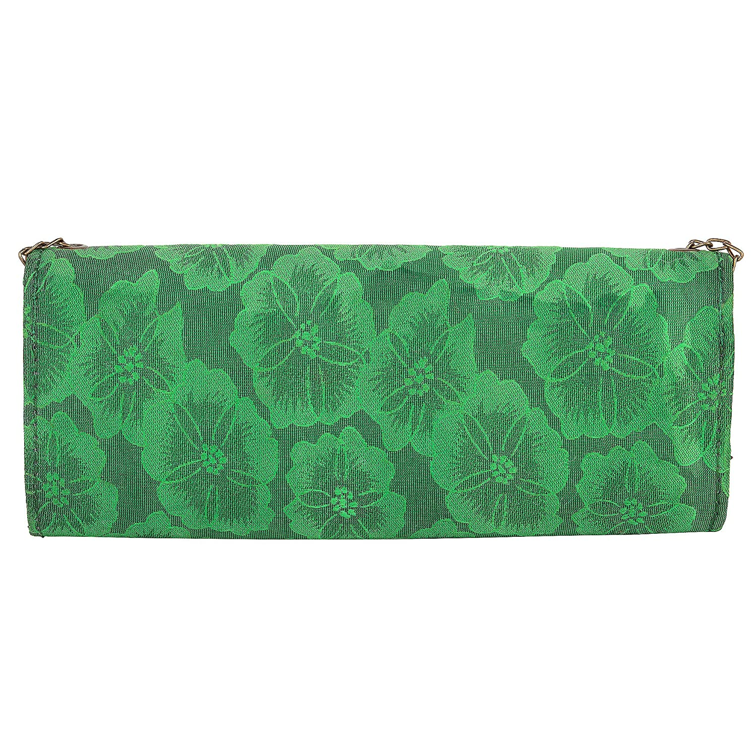 JaipurSe Dark Green Flapover Clutch Party Wear Ladies Evening Clutch Handbag with Drop-in Chain Shoulder Strap