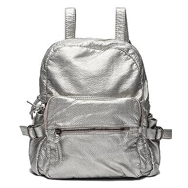 Ali vittoria donne vintage lavato zaino in pelle borsa a tracolla (argento) cc081ec42fd4e