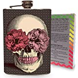 Flower Skull Roses Flask Stainless Steel 8oz Metal Drinking Flasks for Whiskey Spirits Vodka Liquor Alcohol and More! Sugar Skulls Pink Rose Red