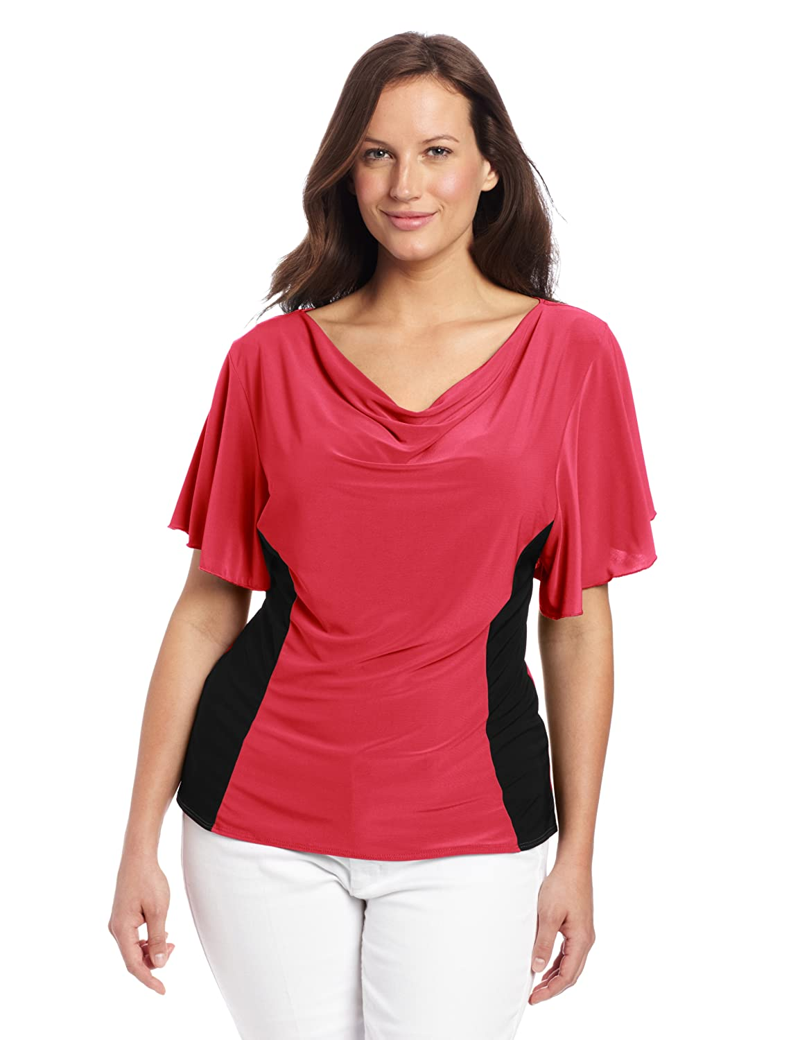 Star Vixen Women's Plus-Size Flutter Sleeve Colorblock Top Star Vixen Child Code 7508-IT-X