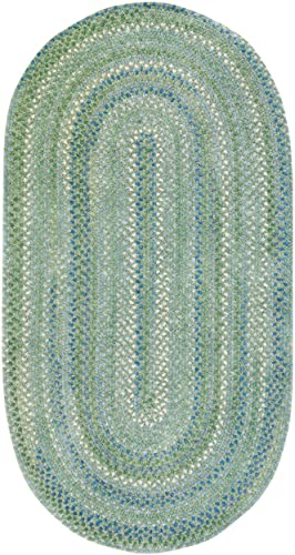 Capel Rugs Waterway Oval Braided Area Rug, 11 4 x 14 4 , Green