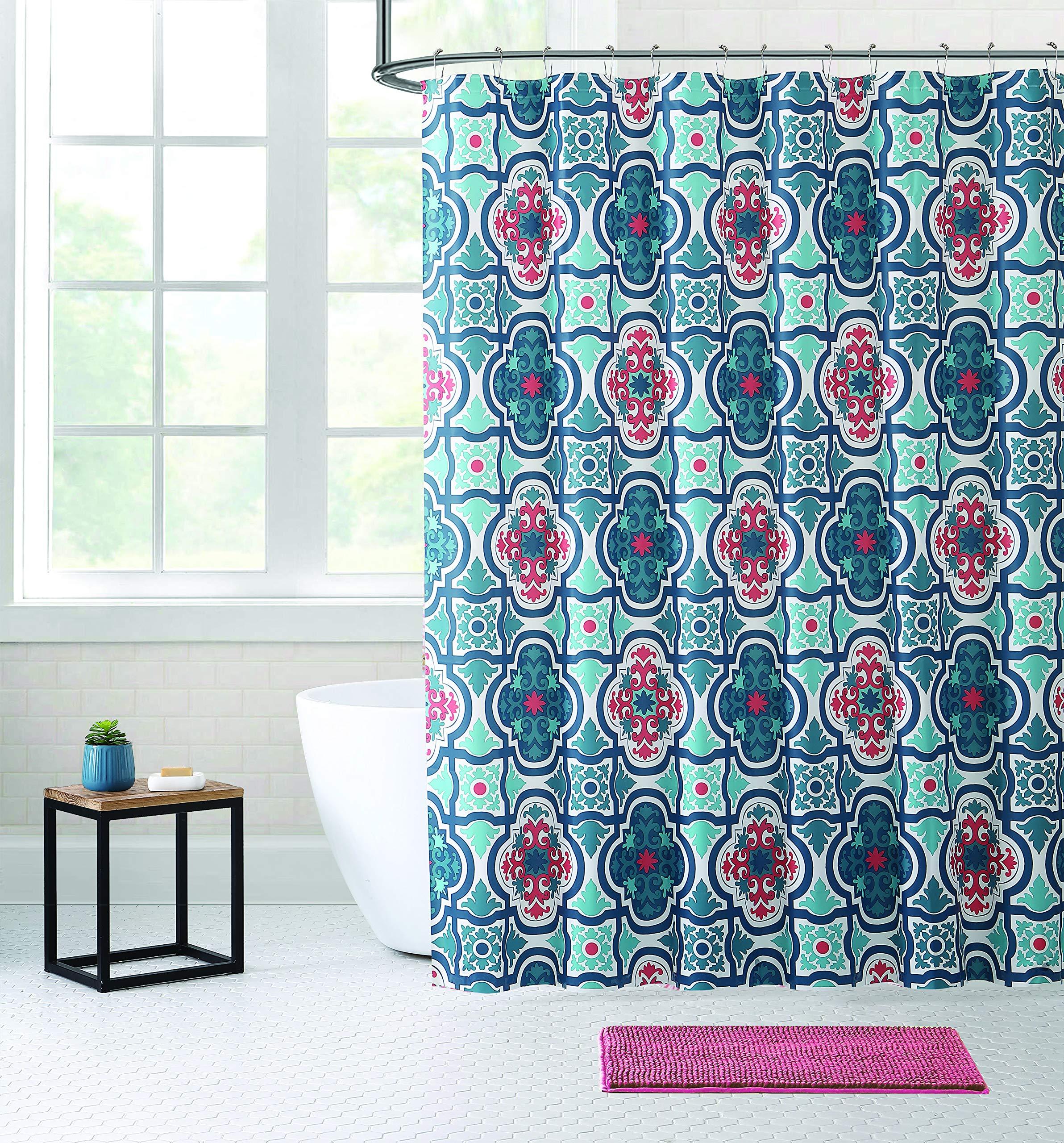 Bibb Home 14 Piece Shower Curtain & Anti-Slip Noodle Chenille Bath Rug Mat Set with 12 Metal Roller Hooks - Mildew Resistant Waterproof Water-Repellent & Antibacterial (Red Moroccan)