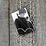 Whole House Worlds The Rustic Farmhouse Wire Hearts Card, Memento, Photo, Note Rack Holder, Vintage Style, Distressed Weathered Gray, Wall Mounted, Metal Wire, 20 1/2 inches Long, By