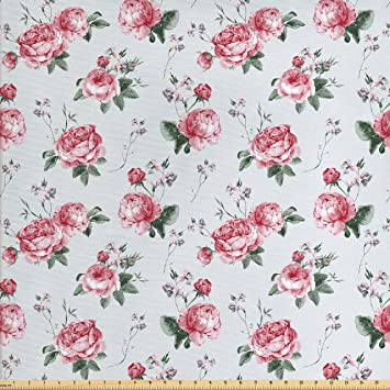 Amazon Com Ambesonne Rose Fabric By The Yard Blooming English Rose