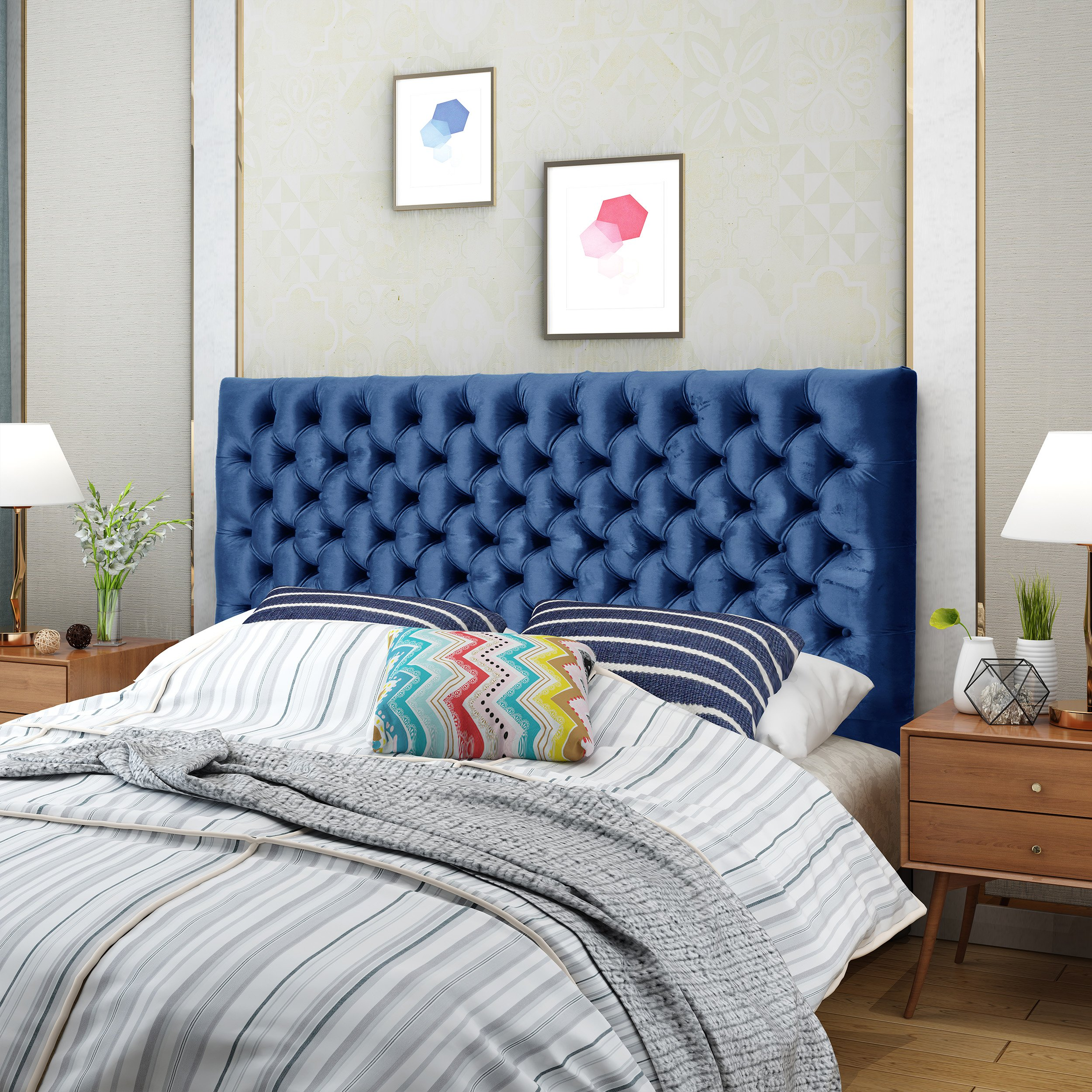 Christopher Knight Home 303582 Jezebel Headboard, Navy Blue and Black Steel by Christopher Knight Home