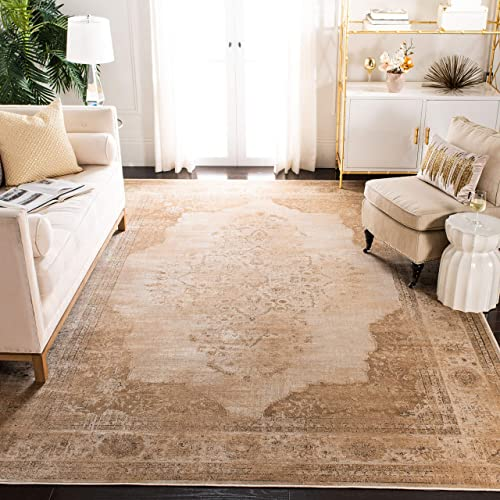 Safavieh Vintage Premium Collection VTG122-3440 Transitional Oriental Cream Distressed Silky Viscose Area Rug 8 x 11 2