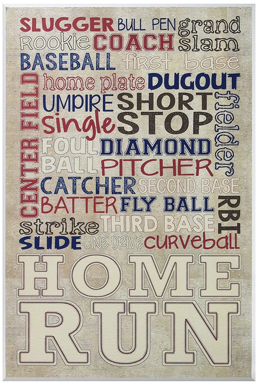 Stupell Home Décor Red White and Blue Baseball Typog Wall Plaque Art, 10 x 0.5 x 15, Proudly Made in USA Stupell Industries brp-1736_wd_10x15