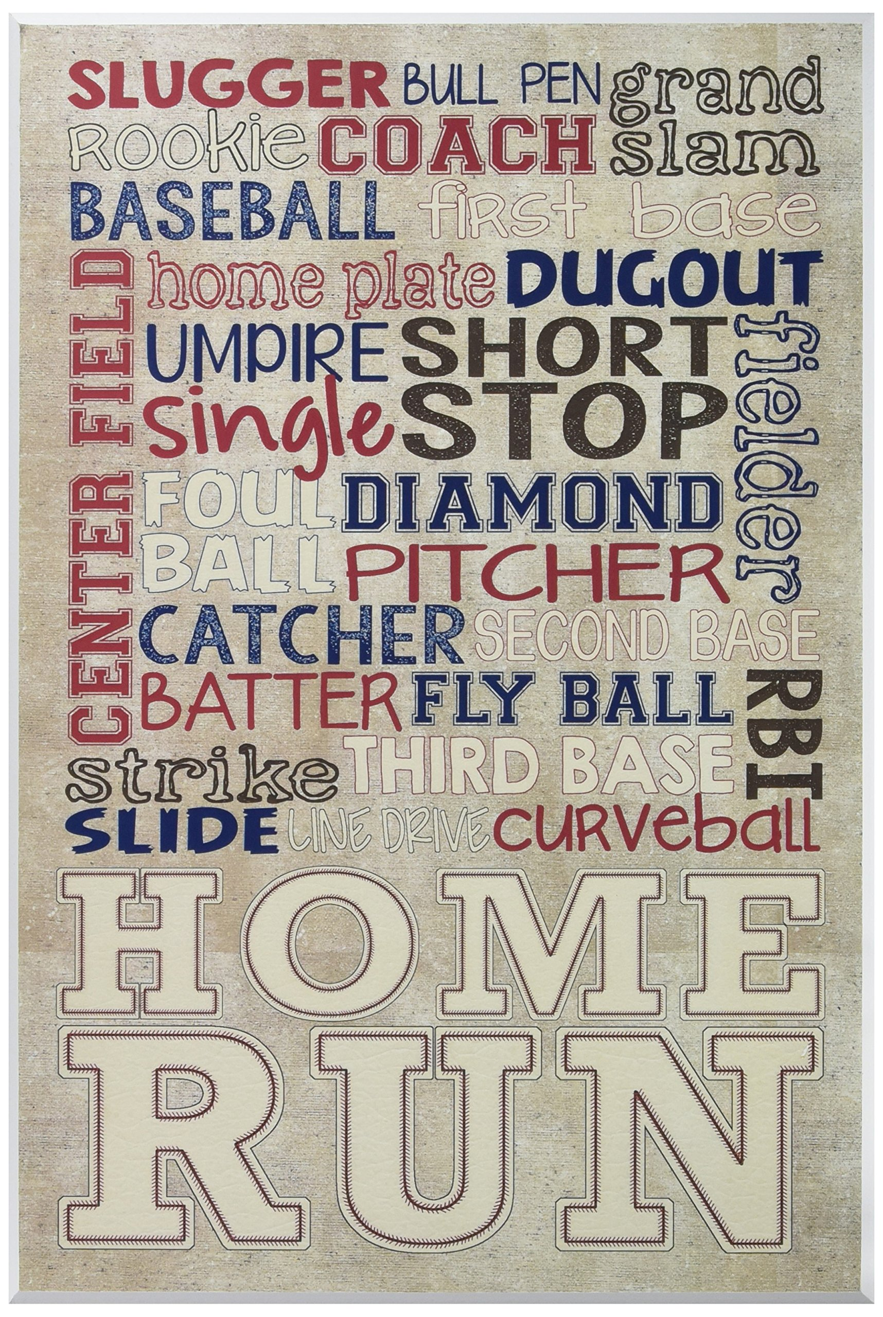 The Kids Room by Stupell ''Red White and Blue Baseball Typography'' Wall Plaque Art by The Kids Room by Stupell