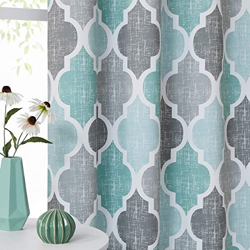 Beauoop 95 Blackout Window Curtain Panels Moroccan Geo Print Room Darkening Thermal Insulated Energy Efficient Drapes Quatrefoil Grommet Top Window Treatment Set