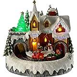 WeRChristmas - Decorazione natalizia con luci LED colorate, 22 cm, soggetto: chiesa con trenino