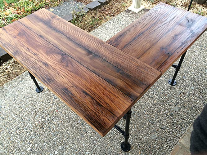 """Rustic Reclaimed Barn Wood L Desk Table - Solid Oak W/ 28"""" Black Iron - Amazon.com: Rustic Reclaimed Barn Wood L Desk Table - Solid Oak W"""