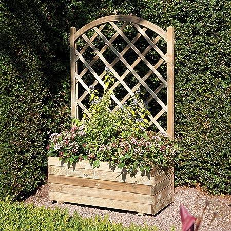 Macetero de madera con celosía para flores con soporte de plantas trepadoras., Double: Amazon.es: Jardín