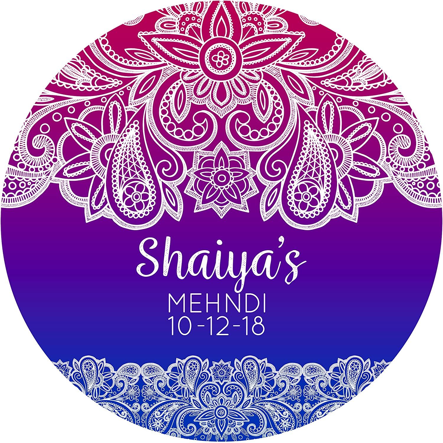 Indian mehndi blue violet sticker labels 6 stickers 9 5cm each personalised seals ideal for party bags sweet cones favours jars presentations gift