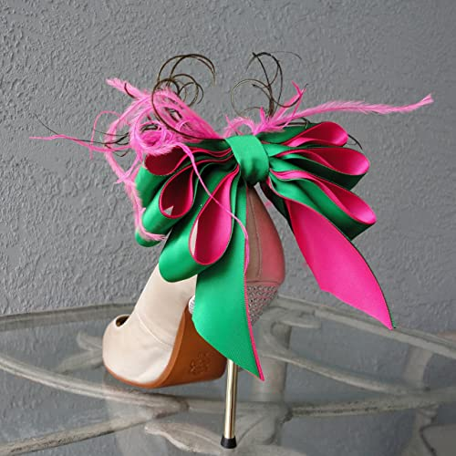 Detachable Green and Pink Satin Bow and Feather Shoe Clips. Set of two