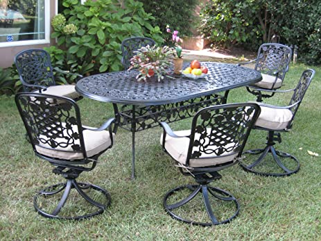 Good Outdoor Cast Aluminum Patio Furniture 7 Piece Dining Set F With 6 Swivel  Chairs Cbm1290