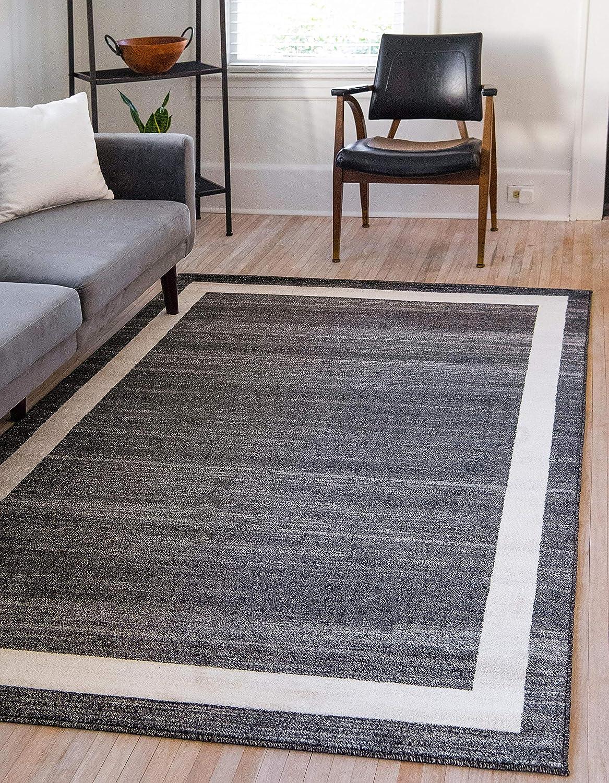 Unique Loom Del Mar Collection Contemporary Transitional Black Area Rug (7' 0 x 10' 0)