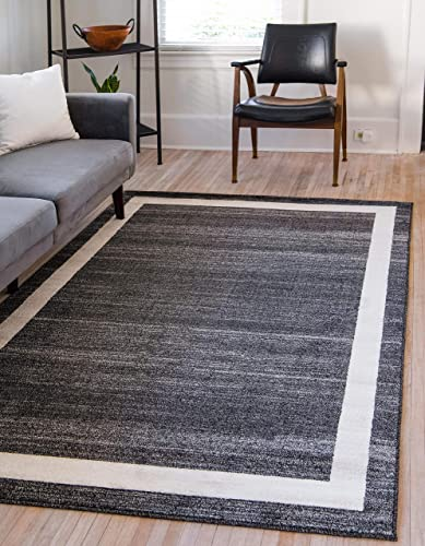 Unique Loom Del Mar Collection Contemporary Transitional Black Area Rug 10 0 x 13 0