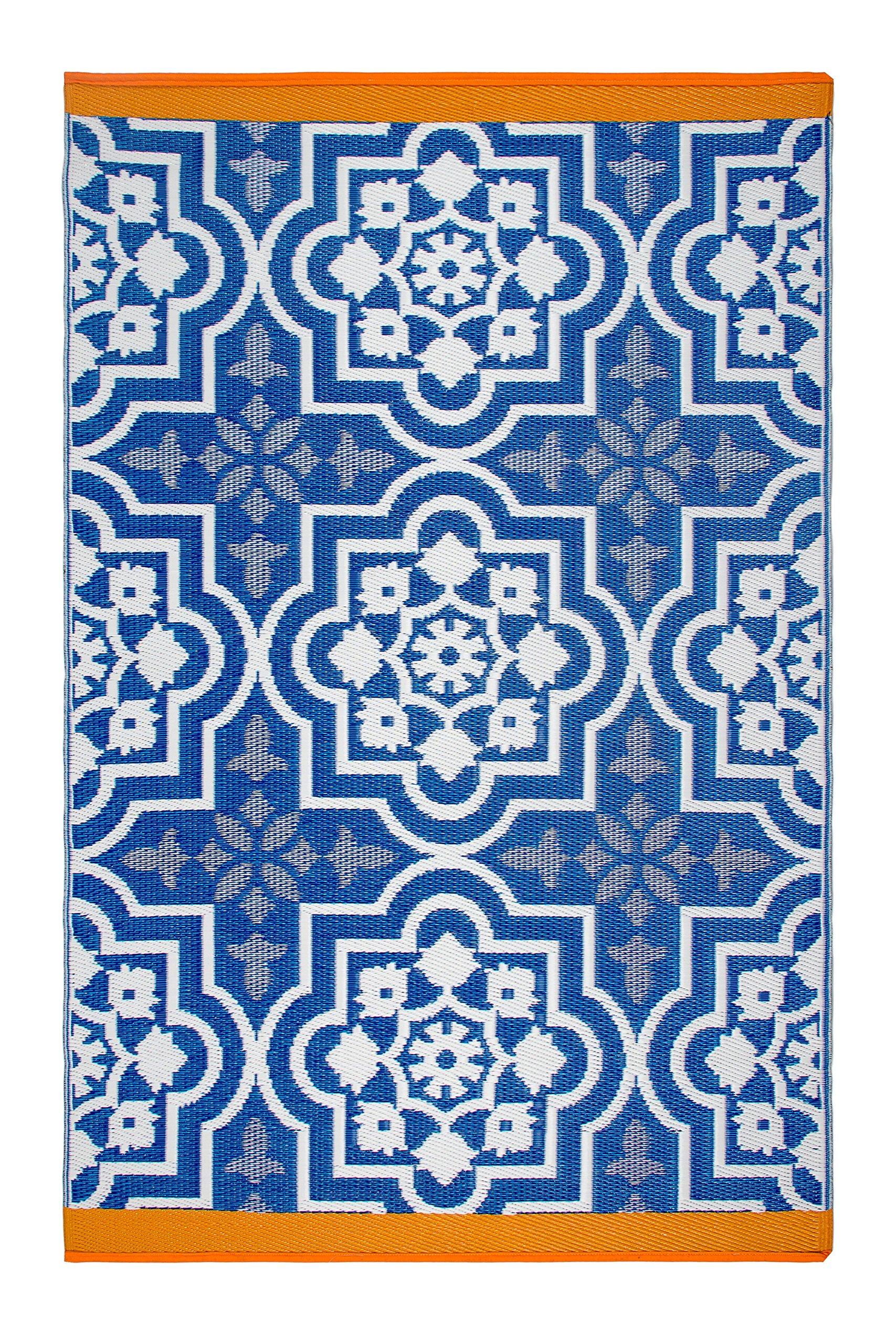 Fab Habitat Reversible, Indoor/Outdoor Weather Resistant Floor Mat/Rug - Puebla - Blue (5 feet by 8 feet)