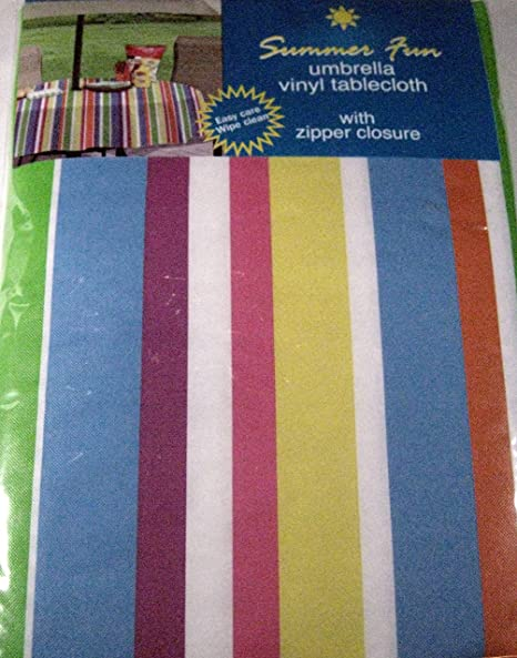 Summer Fun Flannel Back Vinyl Umbrella Tablecloths With Hole And Zipper   Bold Stripes   Assorted