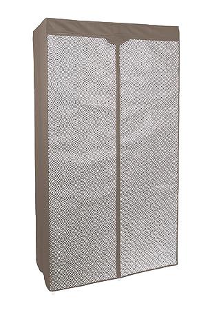 Kleiderschrank PRO ART 4019 Taupe Grau Mit Rauten Design 160 X 88 X 45 Cm  Regalsystem