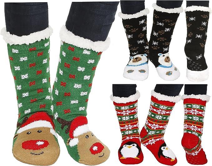 Christmas Huggle Slipper Socks Warm Knit Thick Winter Socks Anti Slip Homewear Floor Socks