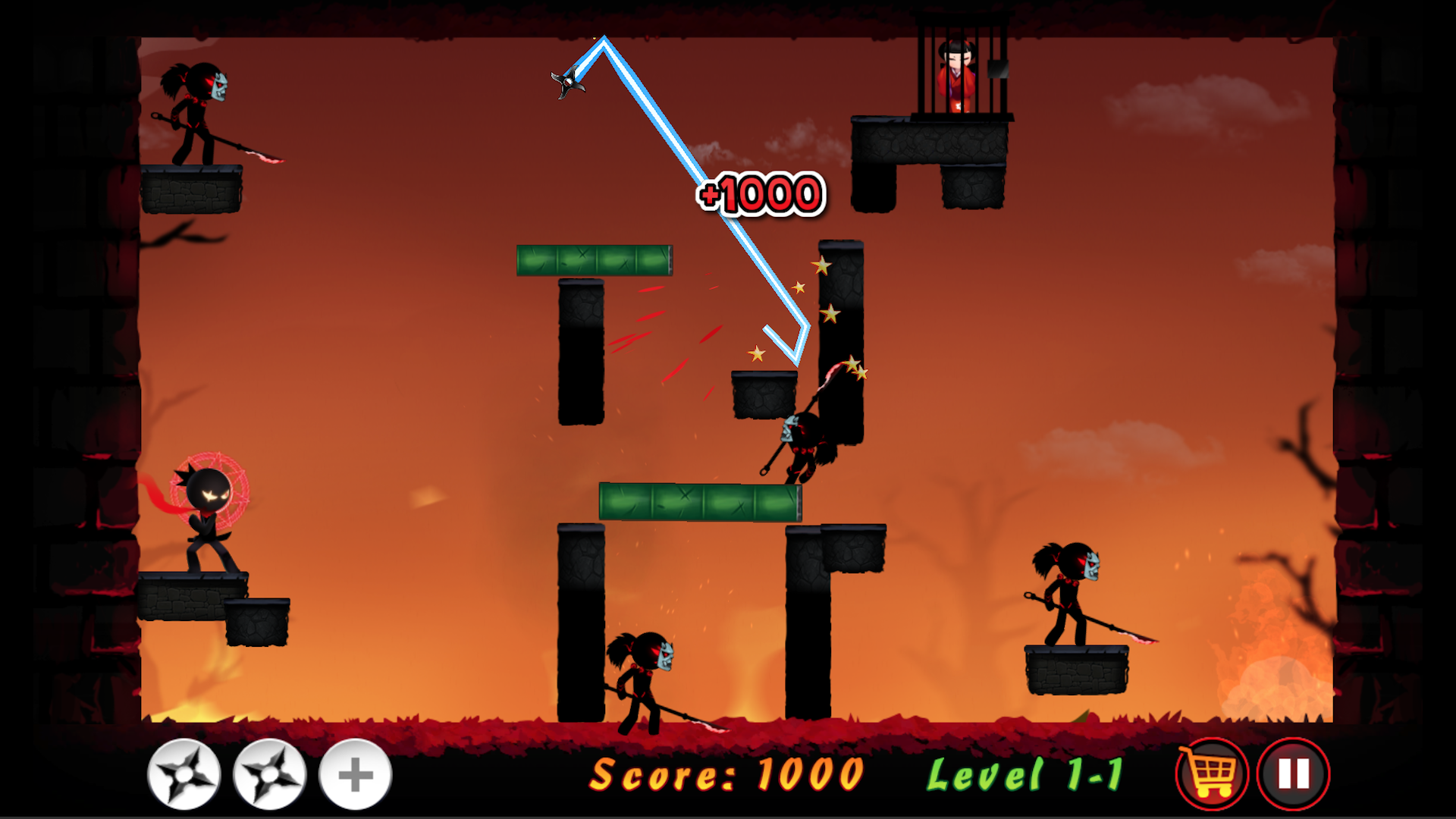 Stickman Ninja Warrior - Throwing Puzzle Game: Amazon.es ...