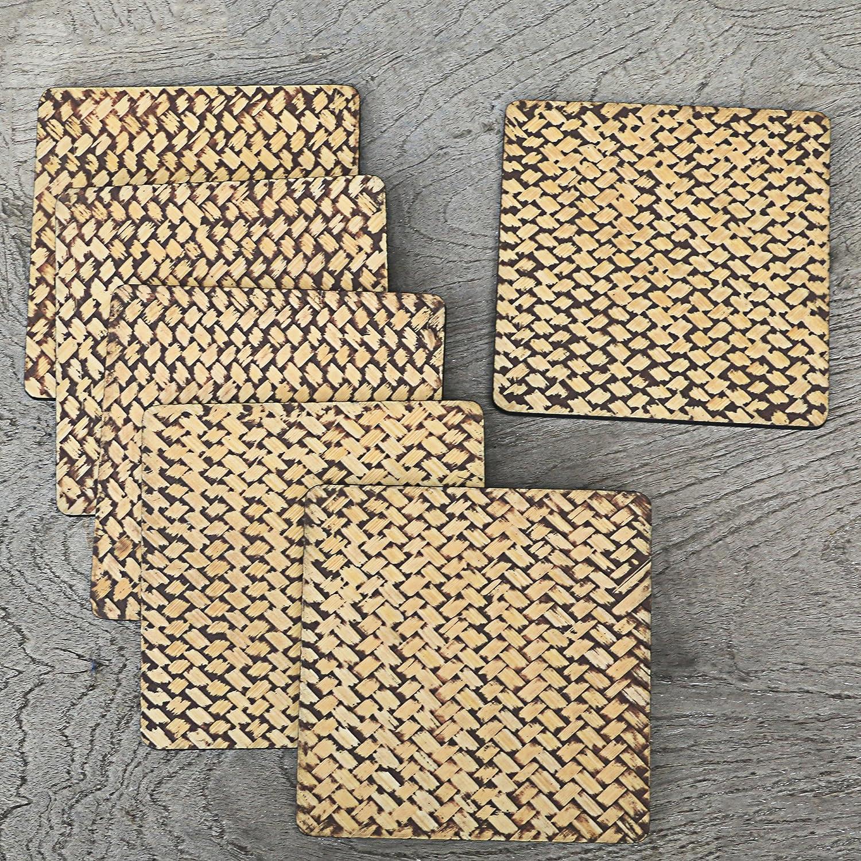 NOVICA TWE0018 Bamboo Weave in Black Set of 6 Wood Coasters