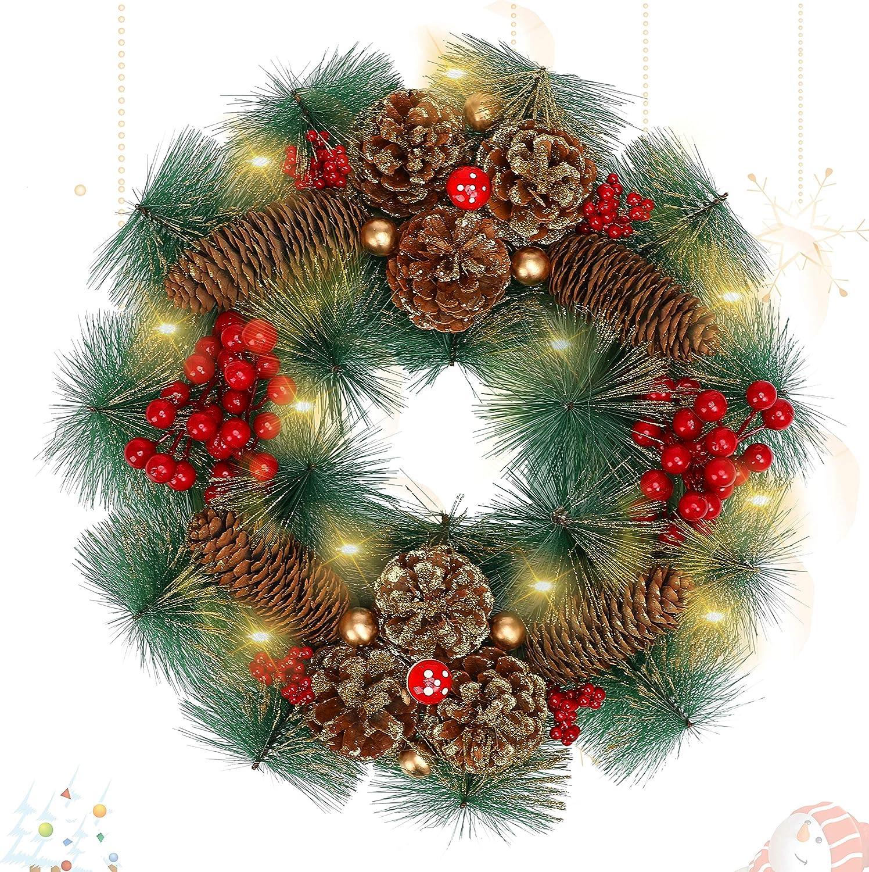 LessMo Corona de Navidad, Adorno de Guirnalda de Navidad con 30 Luces LED, Guirnaldas de Navidad Artificiales con Bolas de Flores y Conos de Pino para Decoración de árbol de Pared de Puerta