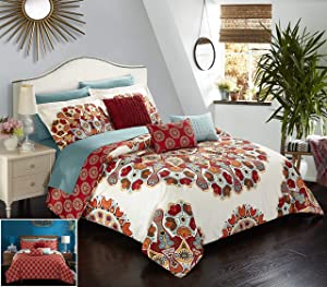 Chic Home 10 Piece Aberdeen Large Scale Paisley Bohemian Reversible Printed with Embroidered Details. King Bed in a Bag Comforter Set Red