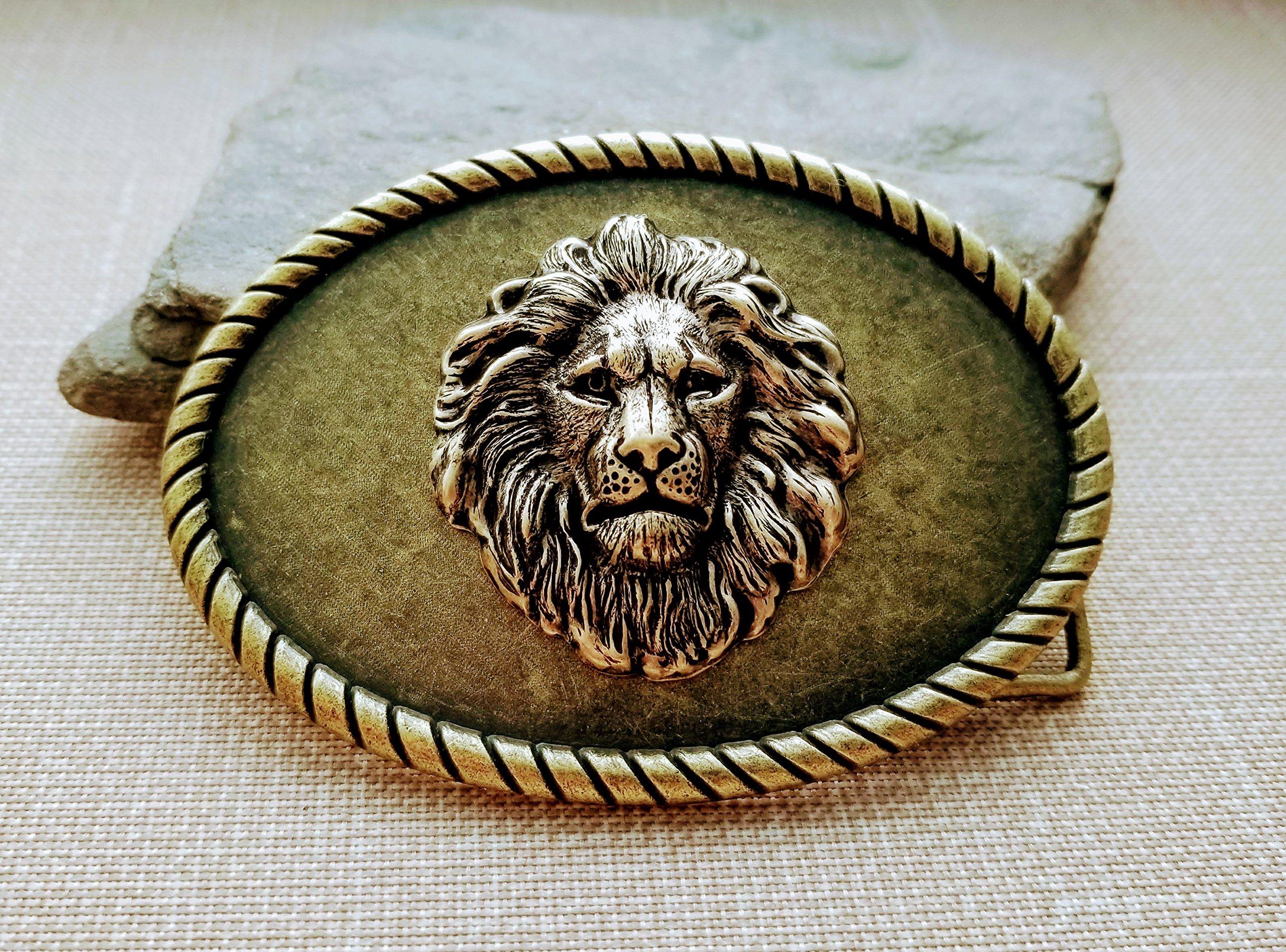 Handmade Oxidized Brass Steampunk Lion Belt Buckle by Urban Metal Designs