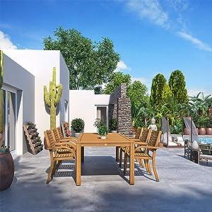 Brampton Winslow 7-Piece Outdoor Rectangular Dining Table Set   Teak Finish   Ideal for Patio and Indoors
