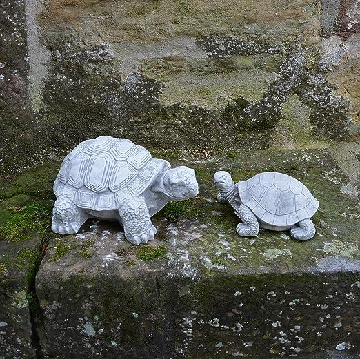 OFERTA ESPECIAL: Tortuga de par de figuras decorativas de jardín de piedra fundido a las heladas.: Amazon.es: Jardín