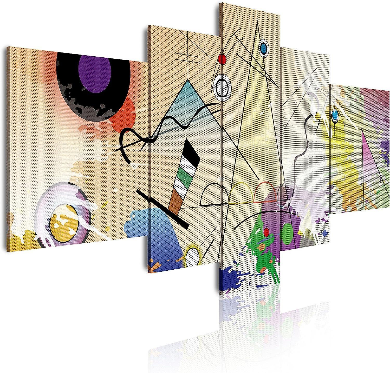 DekoArte 418 Cuadros Impresión de Imagen Artística Digitalizada, Lienzo Decorativo para Tu Salón o Dormitorio, Estilo Abstractos Moderno Kandinsky Arte Colores XXL, multi beiges, 5 piezas (180x85x3cm)