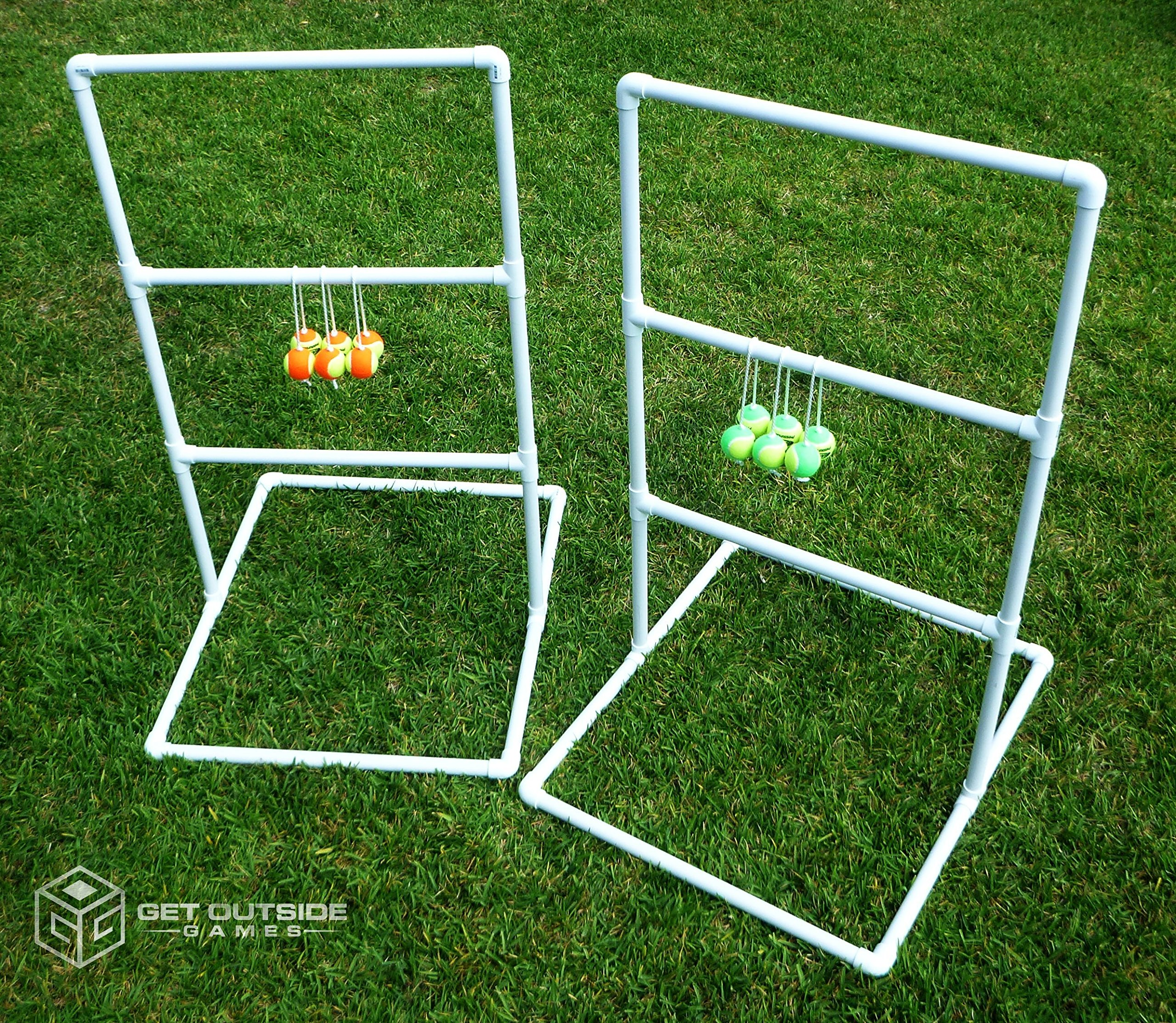 Get Outside Games Texas Toss - 5 ft Tall Ladder Ball Toss / Ladder Golf Game (Blue & Green Ball Kit)