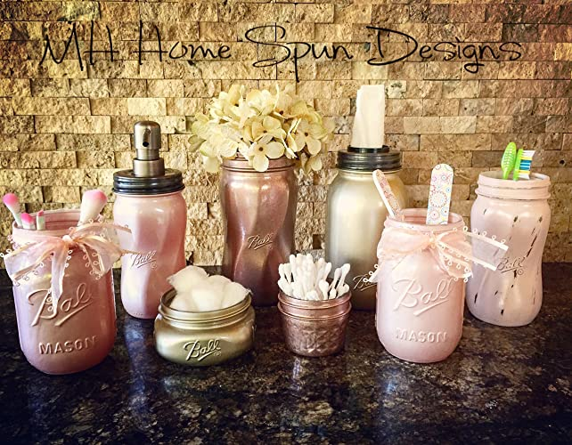 Gorgeous Vintage Gold, Rose And Blush Pearl Pink Mason Jar Bathroom Set  With Soap Dispenser