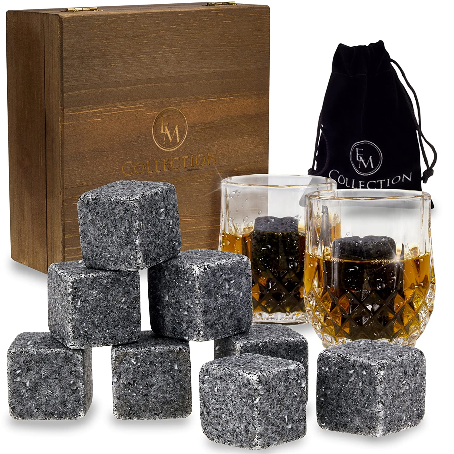 Whiskey Stones Gift Set w/8 Granite Whiskey Rocks,2 Crystal Whiskey Glasses & Velvet Bag by EMcollection|Reusable Cooling Ice Cubes|Chill Your Scotch & Cold Drinks|Packed in Elegant Wooden Box SYNCHKG118768