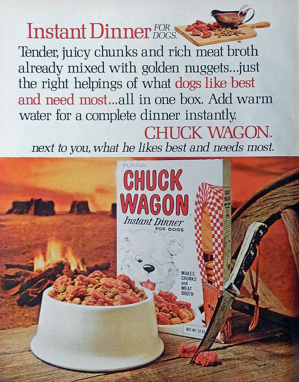 Chuck Wagon Dog Food, 60's Full Page Color Illustration,print art, (instant dinner) Original Vintage, Rare 1969 Look Magazine Art
