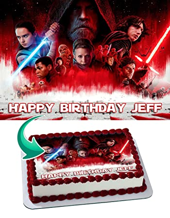 Star Wars The Last Jedi Edible Cake Image Personalized Icing Sugar
