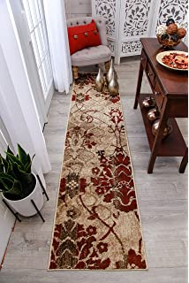 Modern Burgundy Rug Hallway Runners Cream Beige Area Rugs 2x7 Clearance Contemporary Blue
