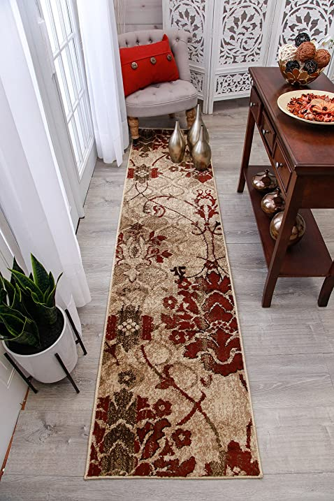 Modern Burgundy Rug Hallway Runners Cream Beige Area Rugs 2x7 Rug Clearance  Contemporary Rugs Blue Cream
