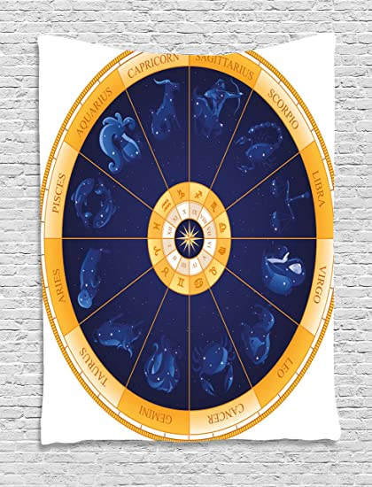 2a391a851 Ambesonne Astrology Tapestry, Natal Birth Chart Zodiac Horoscope Signs in  Wheel Shape with Dots Stars