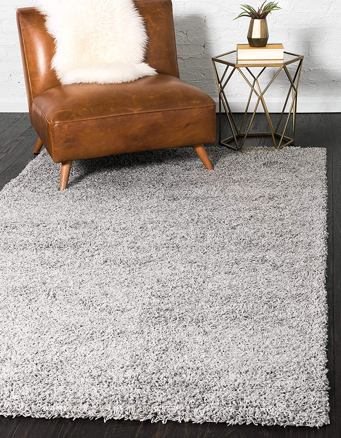 Unique Loom Solo Solid Shag Collection Modern Plush Cloud Gray Area Rug (4