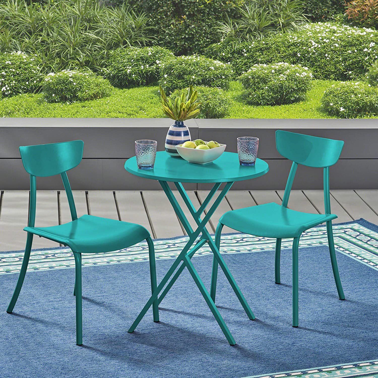 Christopher Knight Home 304939 Lucy Outdoor Bistro Set, Matte Teal
