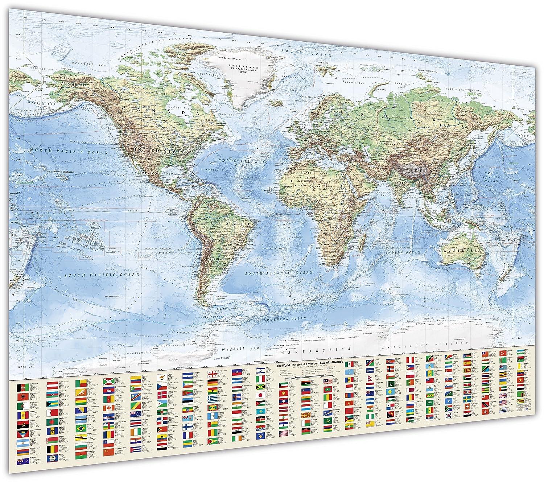 J.Bauer Karten Physische cm, Weltkarte, 120x80 cm, Physische englisch, auf Leinwand und Keilrahmen, Stand  2017 d6b9eb