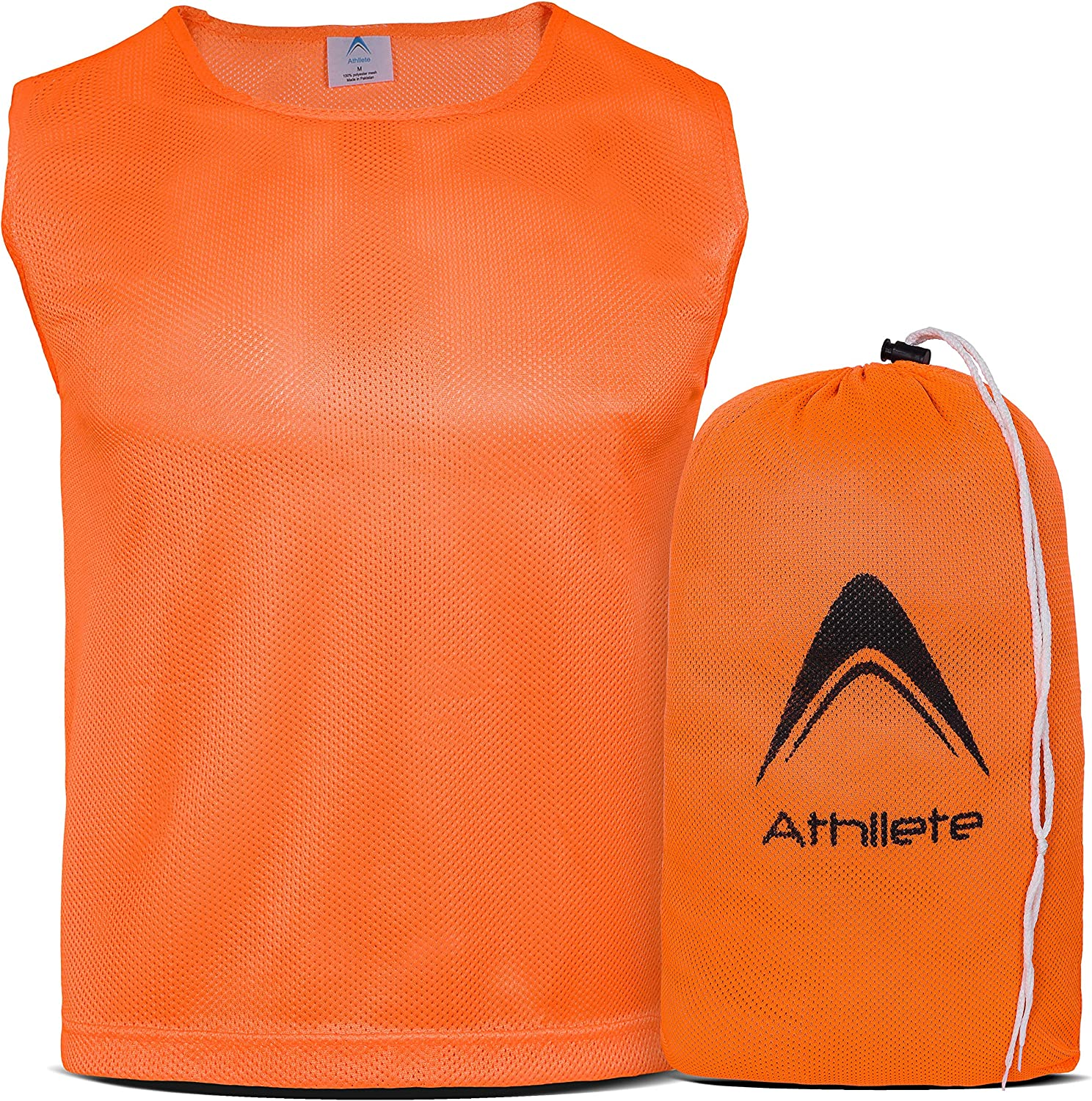 Athllete DURAMESH Set of 6 - Scrimmage Vest/Pinnies/Team Practice Jerseys with Free Carry Bag. Sizes for Children Youth Adult and Adult XL : Sports & Outdoors