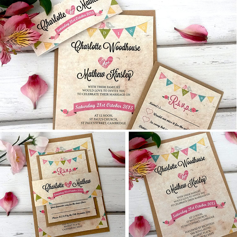 Wedding invitations personalised handmade with vintage bunting wedding invitations personalised handmade with vintage bunting rsvp card sleeve envelopes pack of 10 amazon kitchen home stopboris Choice Image