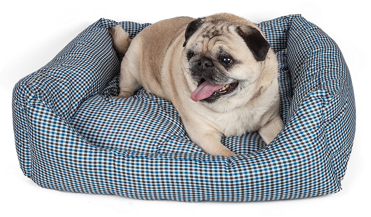 bluee Plaid XSPET LIFE 'WickAway' WickProof NanoSilver and AntiBacterial Water Resistant Rectangular Pet Dog Bed, Small, Dark Brown