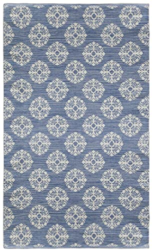 Jacquard Medallion Cotton Rug, Blue, 5-Feet by 8-Feet