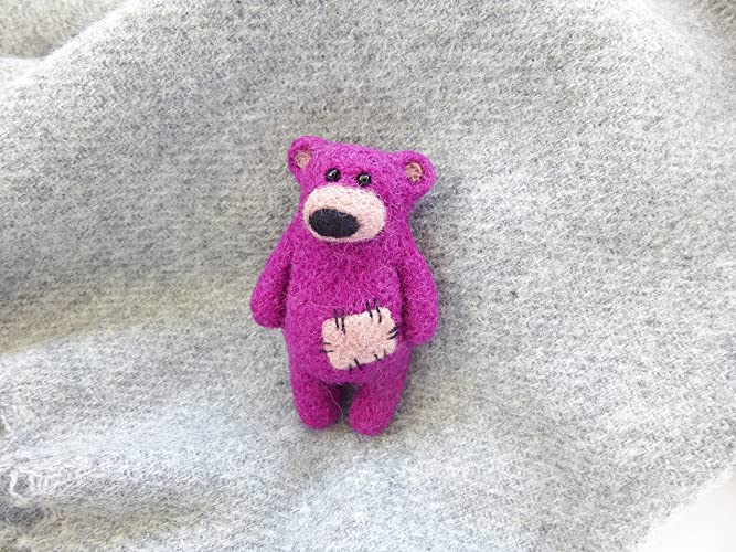 Amazon com: Bear brooch pin, Needle felt Teddy bear pin