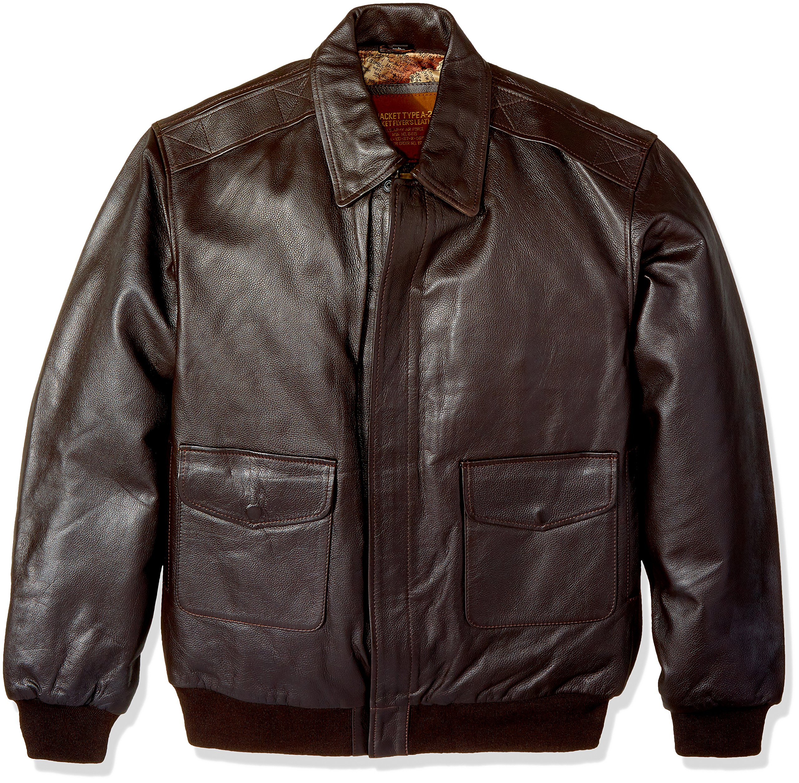 Excelled Men's Big and Tall Leather Flight Jacket, Brown, 4XL